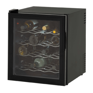 Avanti EWC1601B 16 Bottle Wine Cooler, Black, Reversible Glass Door