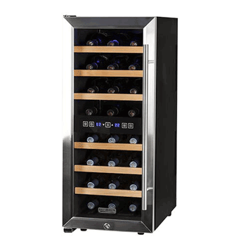 Koldfront 24 Bottle Free Standing Dual Zone Wine Cooler Blackand Stainless Steel1